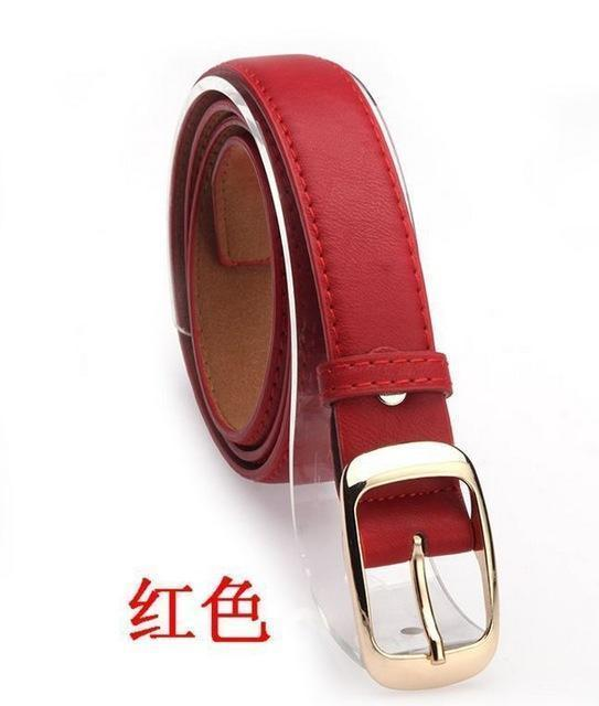 New 2017 Fashion Women Belt Brand Designer Hot Ladies Faux Leather Metal Buckle Straps Girls Fashion Accessories-Red-JadeMoghul Inc.