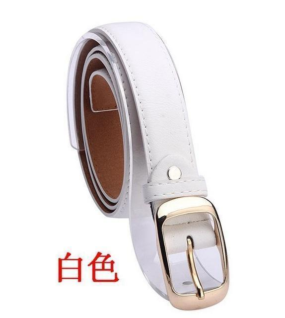 New 2017 Fashion Women Belt Brand Designer Hot Ladies Faux Leather Metal Buckle Straps Girls Fashion Accessories-White-JadeMoghul Inc.
