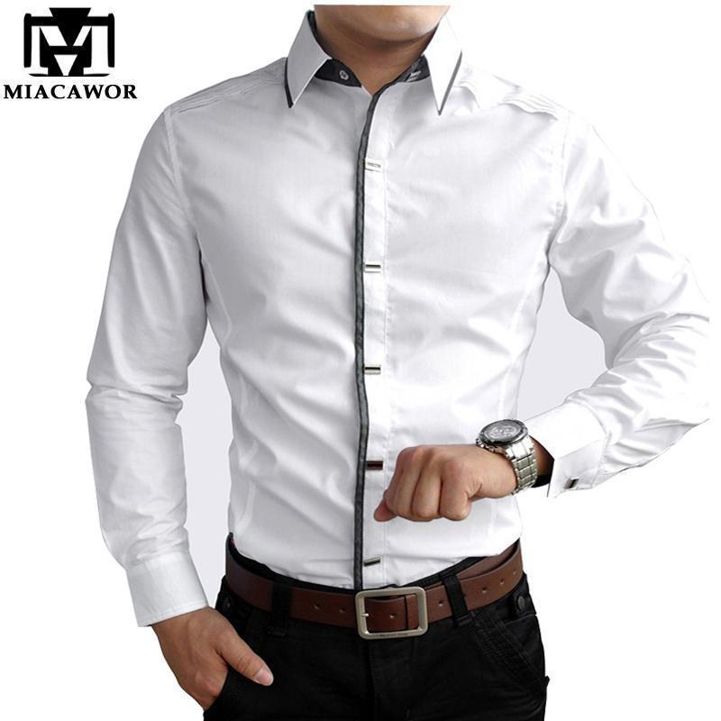 New 2017 Spring Autumn Cotton Dress Shirts High Quality Mens Casual Shirt,Casual Men Plus SizeXXXL Slim Fit Social Shirts-Black-M-JadeMoghul Inc.