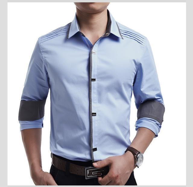New 2017 Spring Autumn Cotton Dress Shirts High Quality Mens Casual Shirt,Casual Men Plus SizeXXXL Slim Fit Social Shirts-light blue-M-JadeMoghul Inc.