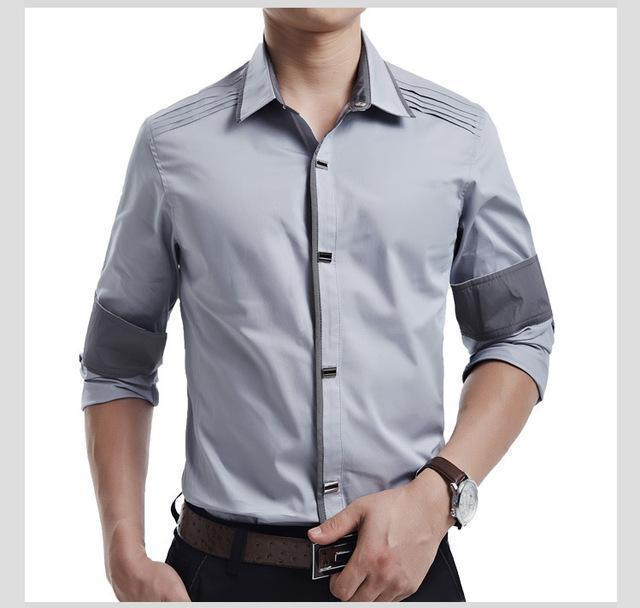 New 2017 Spring Autumn Cotton Dress Shirts High Quality Mens Casual Shirt,Casual Men Plus SizeXXXL Slim Fit Social Shirts-Light grey-M-JadeMoghul Inc.
