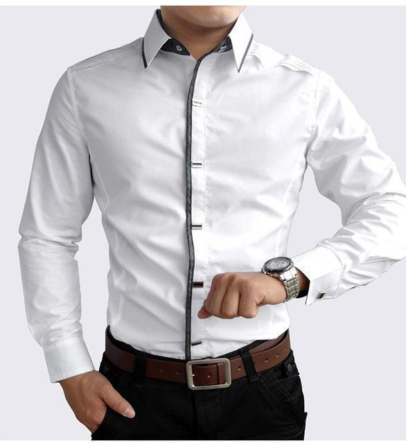 New 2017 Spring Autumn Cotton Dress Shirts High Quality Mens Casual Shirt,Casual Men Plus SizeXXXL Slim Fit Social Shirts-White-M-JadeMoghul Inc.