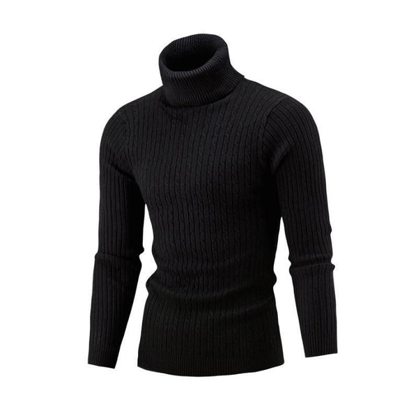 NEW 2018 Winter Mens Fashion Sweaters and Pullovers Men Brand Sweater Male Outerwear Jumper Knitted Turtleneck Sweaters M-XXL-Black-M-JadeMoghul Inc.