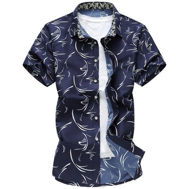 New Arrival Casual Printed Shirt / Short Sleeve Slim Fit Shirt-Navy blue-M-JadeMoghul Inc.