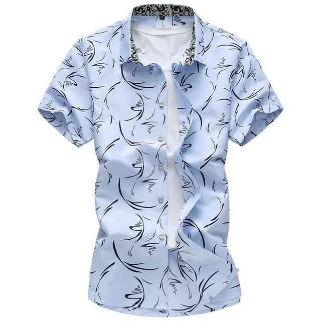 New Arrival Casual Printed Shirt / Short Sleeve Slim Fit Shirt-Sky blue-M-JadeMoghul Inc.