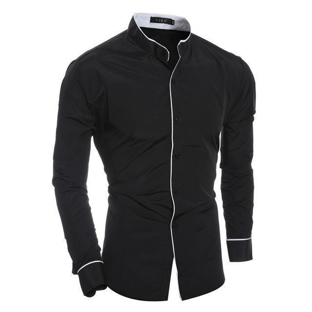 New Arrival Casual Slim Fit Shirt / Fashionable Long Sleeved Shirt-Black-Asian size M-JadeMoghul Inc.