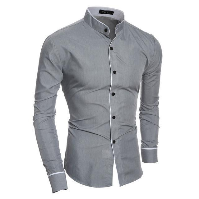New Arrival Casual Slim Fit Shirt / Fashionable Long Sleeved Shirt-Grey-Asian size M-JadeMoghul Inc.
