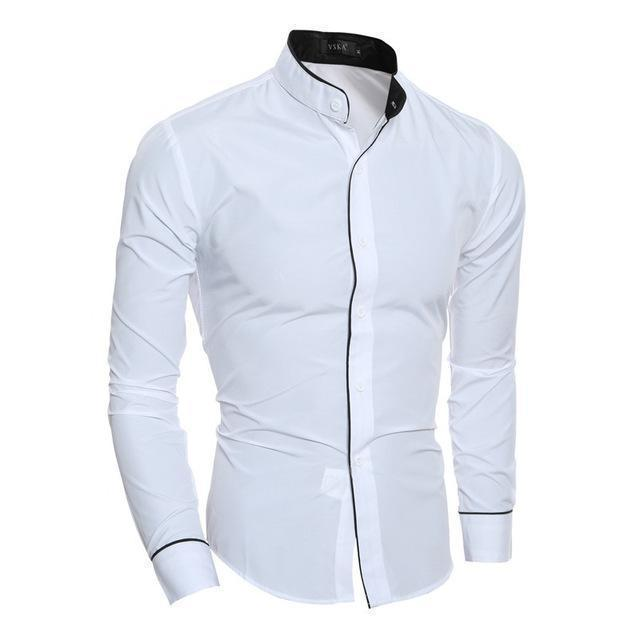 New Arrival Casual Slim Fit Shirt / Fashionable Long Sleeved Shirt-White-Asian size M-JadeMoghul Inc.