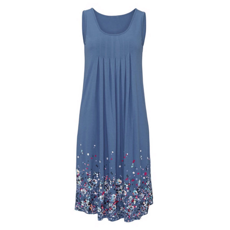 New Arrival Flower Printing Dress For Women-Blue-S-JadeMoghul Inc.