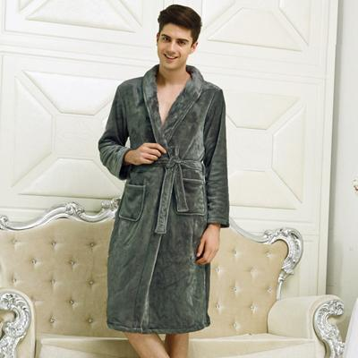 New Arrival Luxury Silk Flannel Winter Spa Bathrobe-Men Grey-S-JadeMoghul Inc.