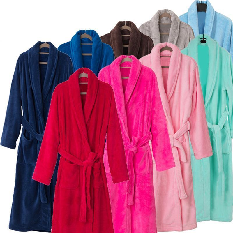 New Arrival Luxury Silk Flannel Winter Spa Bathrobe-Navy Blue-S-JadeMoghul Inc.