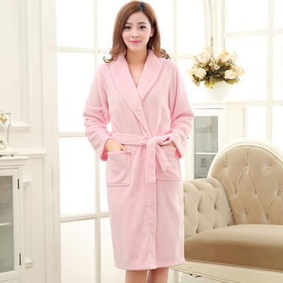 New Arrival Luxury Silk Flannel Winter Spa Bathrobe-Pink-S-JadeMoghul Inc.