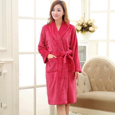 New Arrival Luxury Silk Flannel Winter Spa Bathrobe-Rose Red-S-JadeMoghul Inc.
