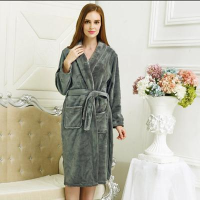 New Arrival Luxury Silk Flannel Winter Spa Bathrobe-Women Grey-S-JadeMoghul Inc.