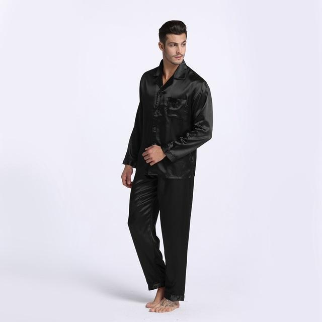 New Arrival Men Stain Silk Pajama Set / Modern Style Silk Nightgown-Black-M-JadeMoghul Inc.