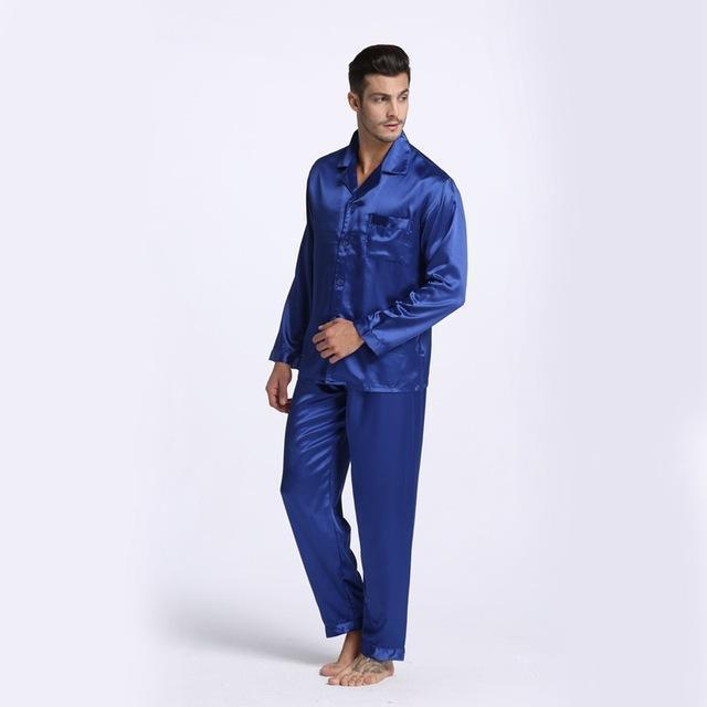 New Arrival Men Stain Silk Pajama Set / Modern Style Silk Nightgown-Blue-M-JadeMoghul Inc.