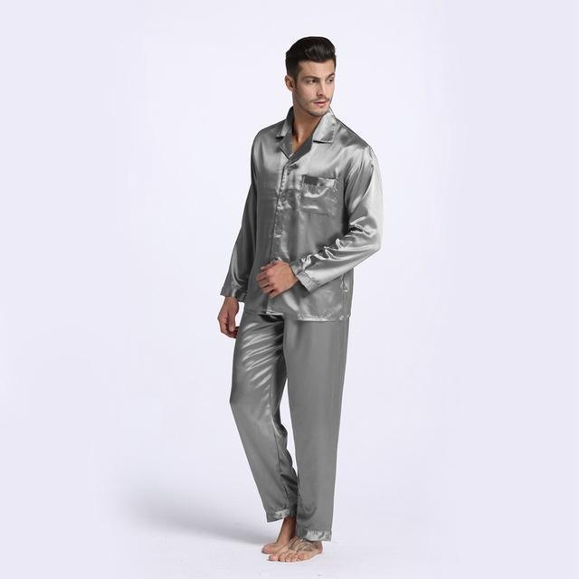 New Arrival Men Stain Silk Pajama Set / Modern Style Silk Nightgown-Gray-M-JadeMoghul Inc.