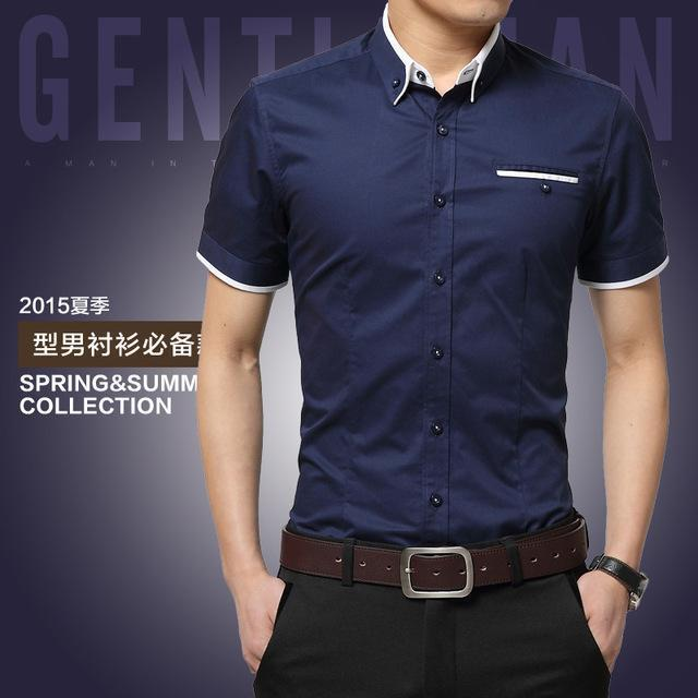 New Arrival Men's Summer Business Short Sleeves Turn-down Collar Shirt-Dark Blue-4XL-JadeMoghul Inc.