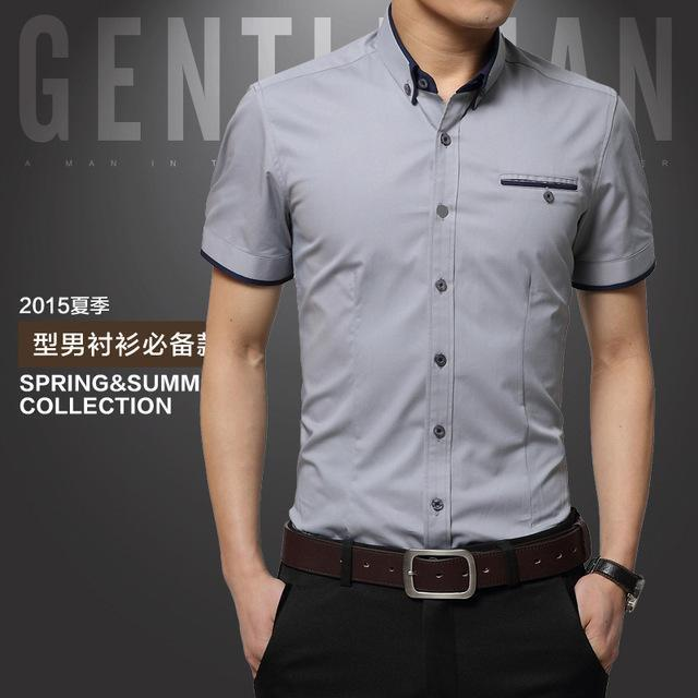 New Arrival Men's Summer Business Short Sleeves Turn-down Collar Shirt-Grey-4XL-JadeMoghul Inc.