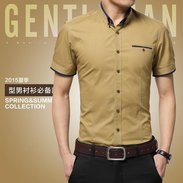 New Arrival Men's Summer Business Short Sleeves Turn-down Collar Shirt-Khaki-4XL-JadeMoghul Inc.