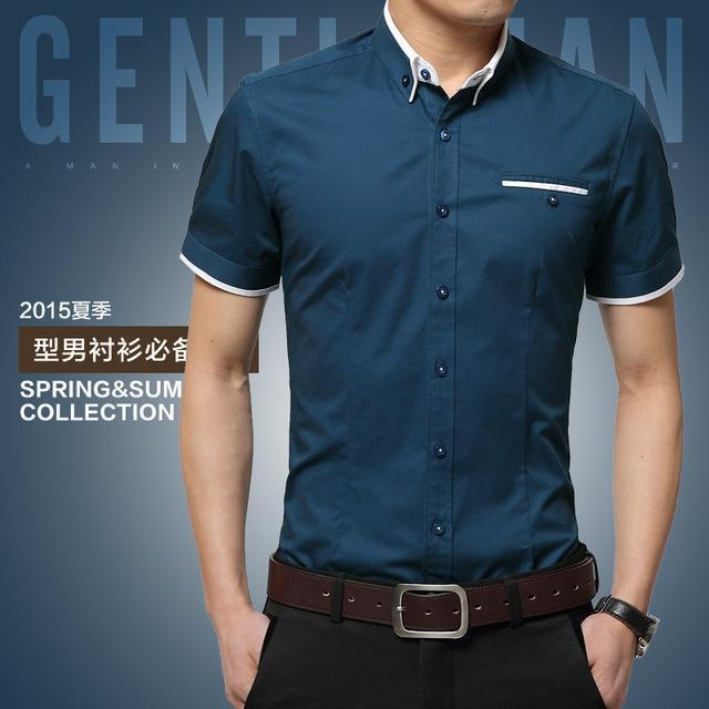 New Arrival Men's Summer Business Short Sleeves Turn-down Collar Shirt-Lake Blue-4XL-JadeMoghul Inc.