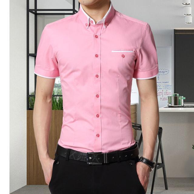 New Arrival Men's Summer Business Short Sleeves Turn-down Collar Shirt-Pink-4XL-JadeMoghul Inc.