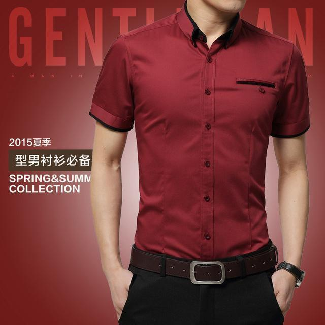 New Arrival Men's Summer Business Short Sleeves Turn-down Collar Shirt-Red-4XL-JadeMoghul Inc.