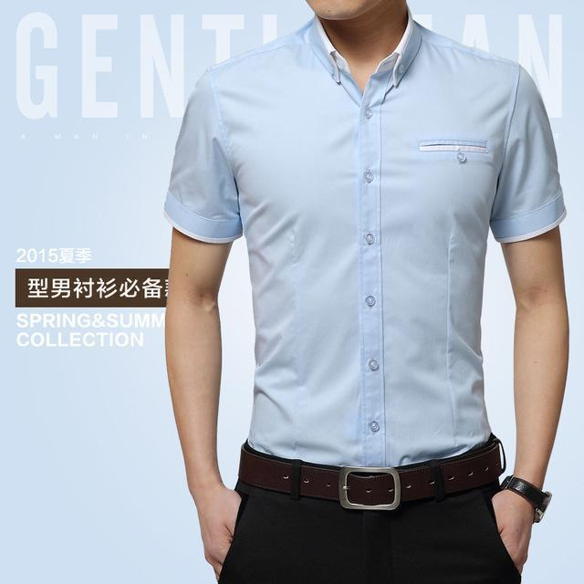 New Arrival Men's Summer Business Short Sleeves Turn-down Collar Shirt-Sky Blue-4XL-JadeMoghul Inc.