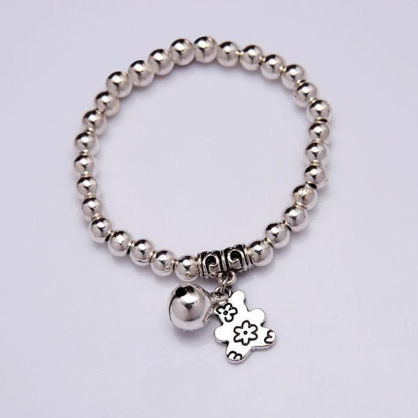 NEW Bear Bell Charm Bracelet Silver plated beads Bracelet 2016 Women Fashion jewelry--JadeMoghul Inc.