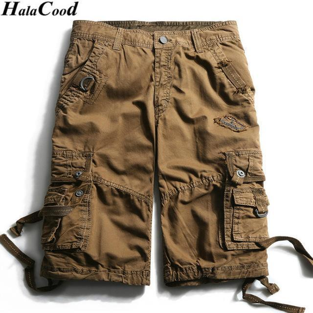 New Calf-Length Cargo Men Cotton Shorts / Multi-Pocket Solid Shorts-FHGS3233 Brown-29-JadeMoghul Inc.