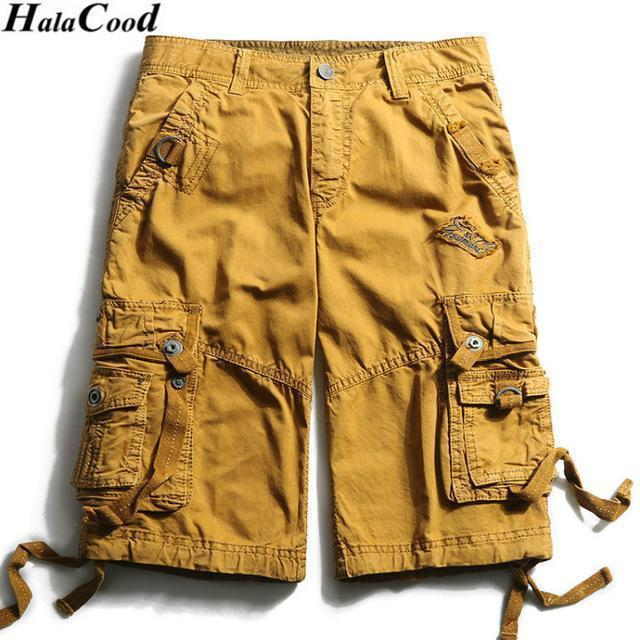 New Calf-Length Cargo Men Cotton Shorts / Multi-Pocket Solid Shorts-FHGS3233 Yellow-29-JadeMoghul Inc.