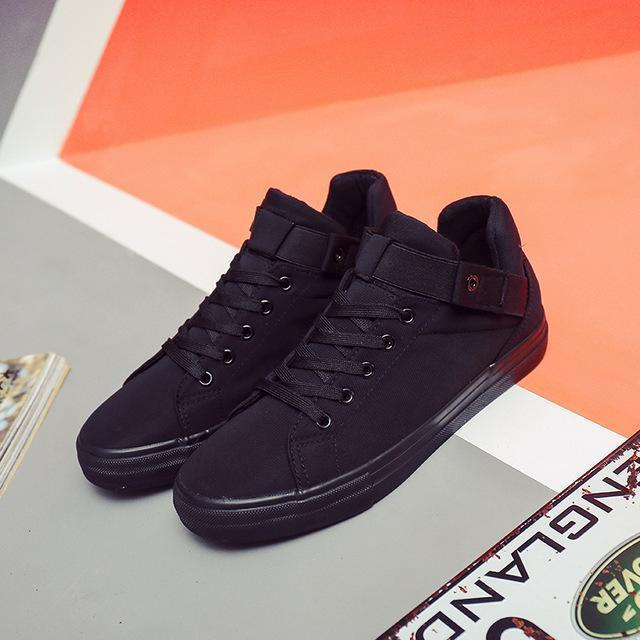 New Canvas Shoes For Men / Flat Heel High Quality Casual Shoes-Black-6.5-JadeMoghul Inc.