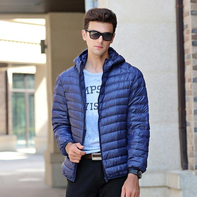 New Duck Down Jacket - Men Winter Warm Light Thin Jacket-Navy Blue-S-JadeMoghul Inc.