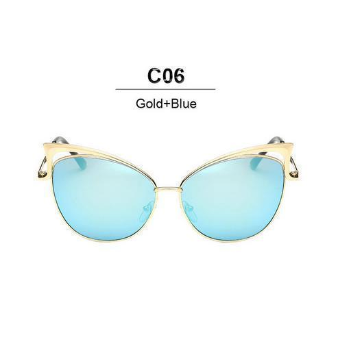 New Fashion Cat Eye luxury Sunglasses 2017 Women Brand Designer Twin-Beam Mirror Men Sun Glasses Vintage Female oculos de sol-gold blue-JadeMoghul Inc.