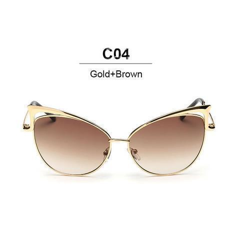 New Fashion Cat Eye luxury Sunglasses 2017 Women Brand Designer Twin-Beam Mirror Men Sun Glasses Vintage Female oculos de sol-gold brown-JadeMoghul Inc.