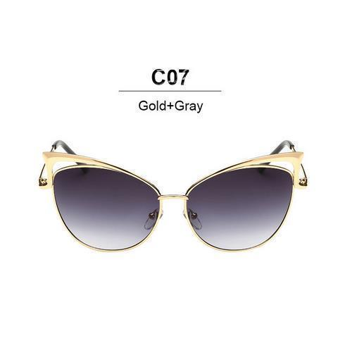 New Fashion Cat Eye luxury Sunglasses 2017 Women Brand Designer Twin-Beam Mirror Men Sun Glasses Vintage Female oculos de sol-gold gray-JadeMoghul Inc.