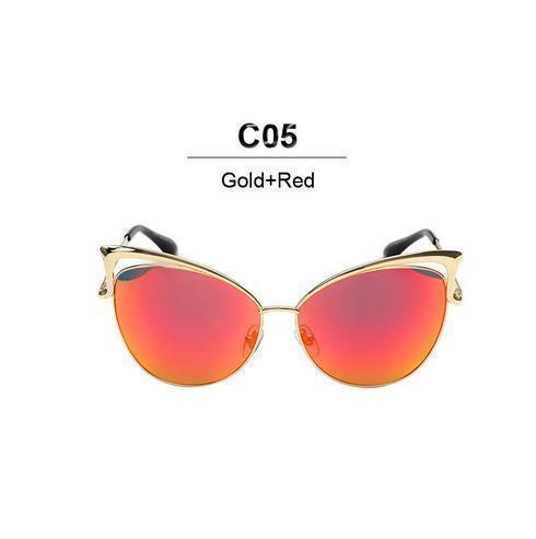 New Fashion Cat Eye luxury Sunglasses 2017 Women Brand Designer Twin-Beam Mirror Men Sun Glasses Vintage Female oculos de sol-gold red-JadeMoghul Inc.