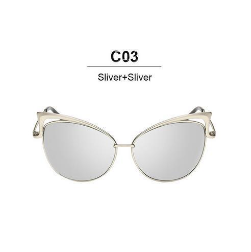 New Fashion Cat Eye luxury Sunglasses 2017 Women Brand Designer Twin-Beam Mirror Men Sun Glasses Vintage Female oculos de sol-silver-JadeMoghul Inc.