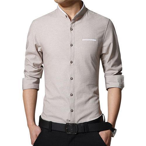 New Fashionable Long Sleeve Slim Fit Dress Shirt-Beige-Asian Size M-JadeMoghul Inc.