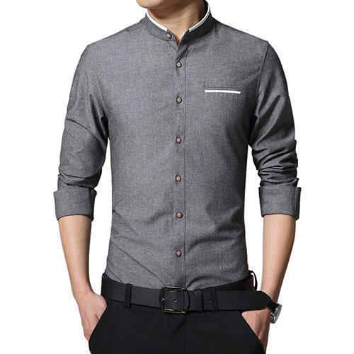 New Fashionable Long Sleeve Slim Fit Dress Shirt-Dark Grey-Asian Size M-JadeMoghul Inc.