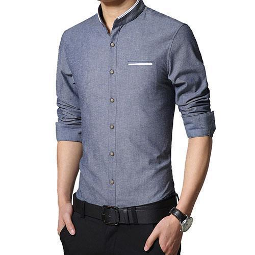New Fashionable Long Sleeve Slim Fit Dress Shirt-Jeans Blue-Asian Size M-JadeMoghul Inc.