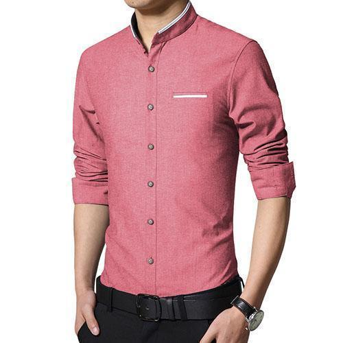 New Fashionable Long Sleeve Slim Fit Dress Shirt-Red-Asian Size M-JadeMoghul Inc.