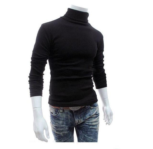 New Fashionable Men Sweater / High-Necked Smart Sweater-Black-M-JadeMoghul Inc.