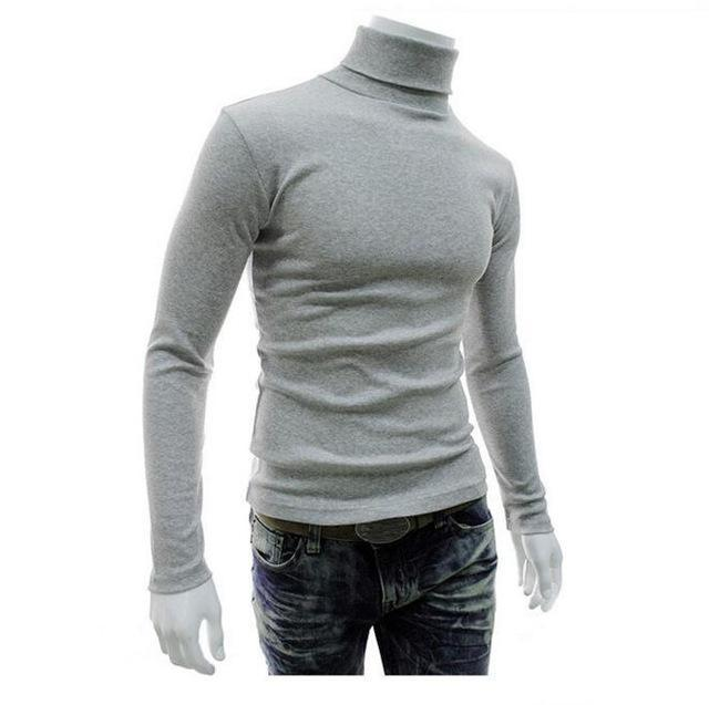 New Fashionable Men Sweater / High-Necked Smart Sweater-Light grey-M-JadeMoghul Inc.