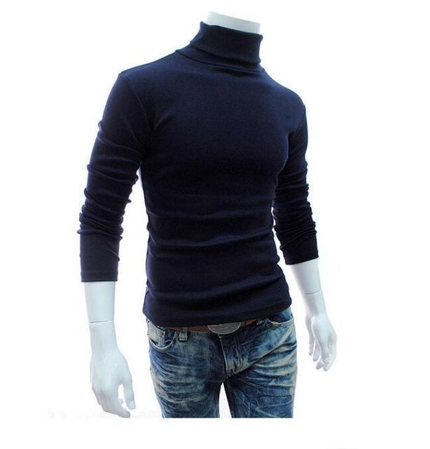 New Fashionable Men Sweater / High-Necked Smart Sweater-navy blue-M-JadeMoghul Inc.