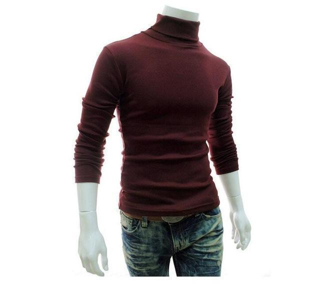 New Fashionable Men Sweater / High-Necked Smart Sweater-Wine red-M-JadeMoghul Inc.