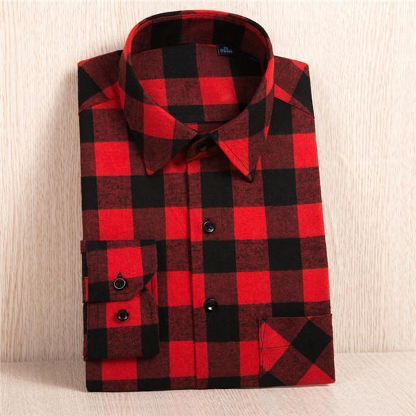 New Flannel Shirt / Slim Fit Soft Comfortable Shirt-MC117-Asian Size S-JadeMoghul Inc.