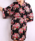 New Floral Robe For Women - Bridal Kimono Robe-black-L/XL-JadeMoghul Inc.