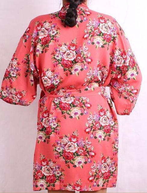 New Floral Robe For Women - Bridal Kimono Robe-pink-L/XL-JadeMoghul Inc.