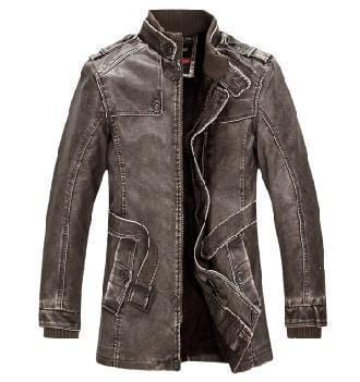 New High Quality Leather Jacket For Men Slim Warm Stand Collar-Brown-M-JadeMoghul Inc.